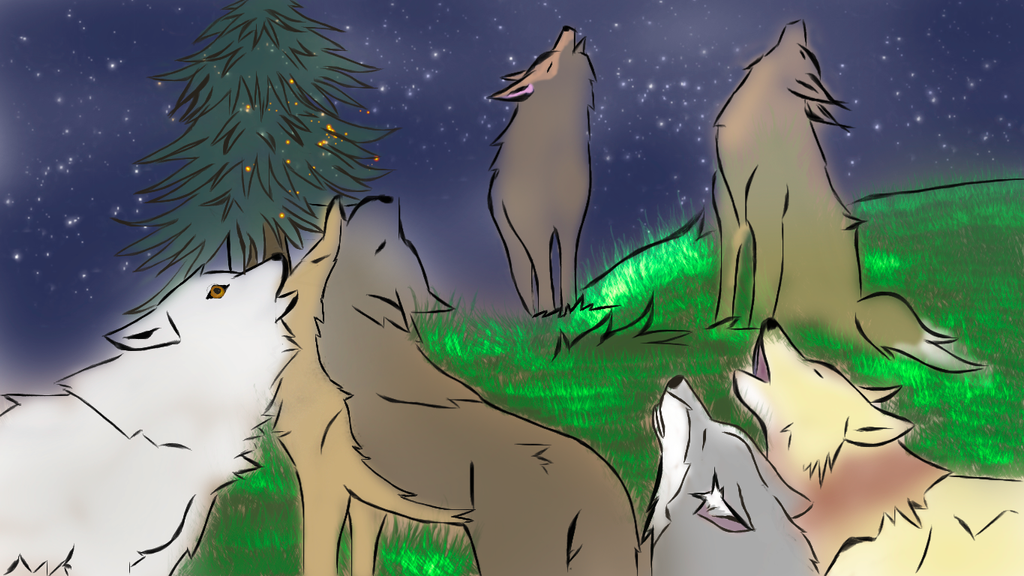 Wolf Pack Howling by RainbowiestHowls
