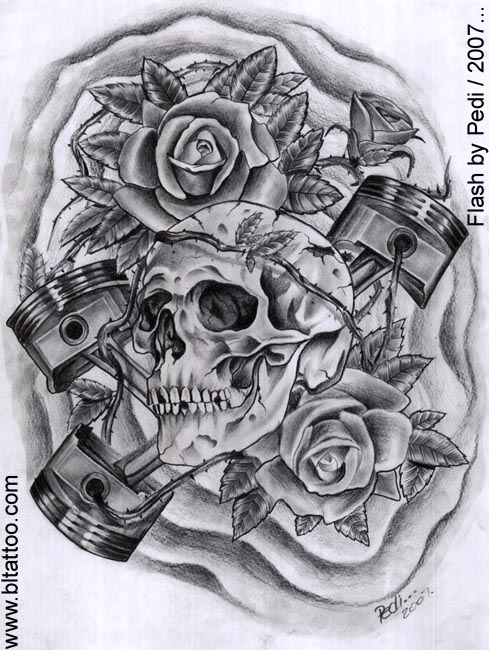 V8 Engine Tattoo Designs Skull and pistons by P...