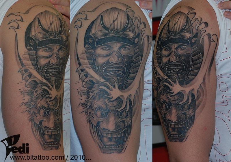 Top Samurai Demon Mask Tattoo Images for Pinterest Tattoos