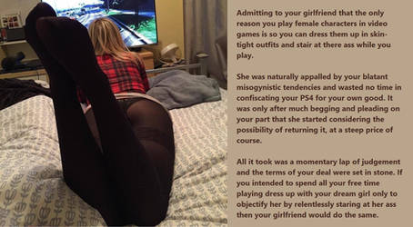 TG Caption: Bad ideas (#3) Gamer girl by FromMisogynistToMaid