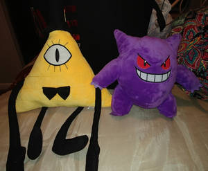 Bill Cipher and Gengar plushies