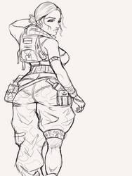 Desert girl Lineart by darnasus