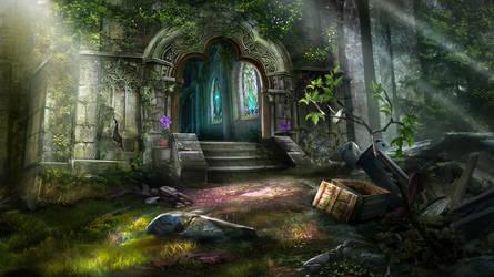 Otherworld - cathedral entrance by firedudewraith