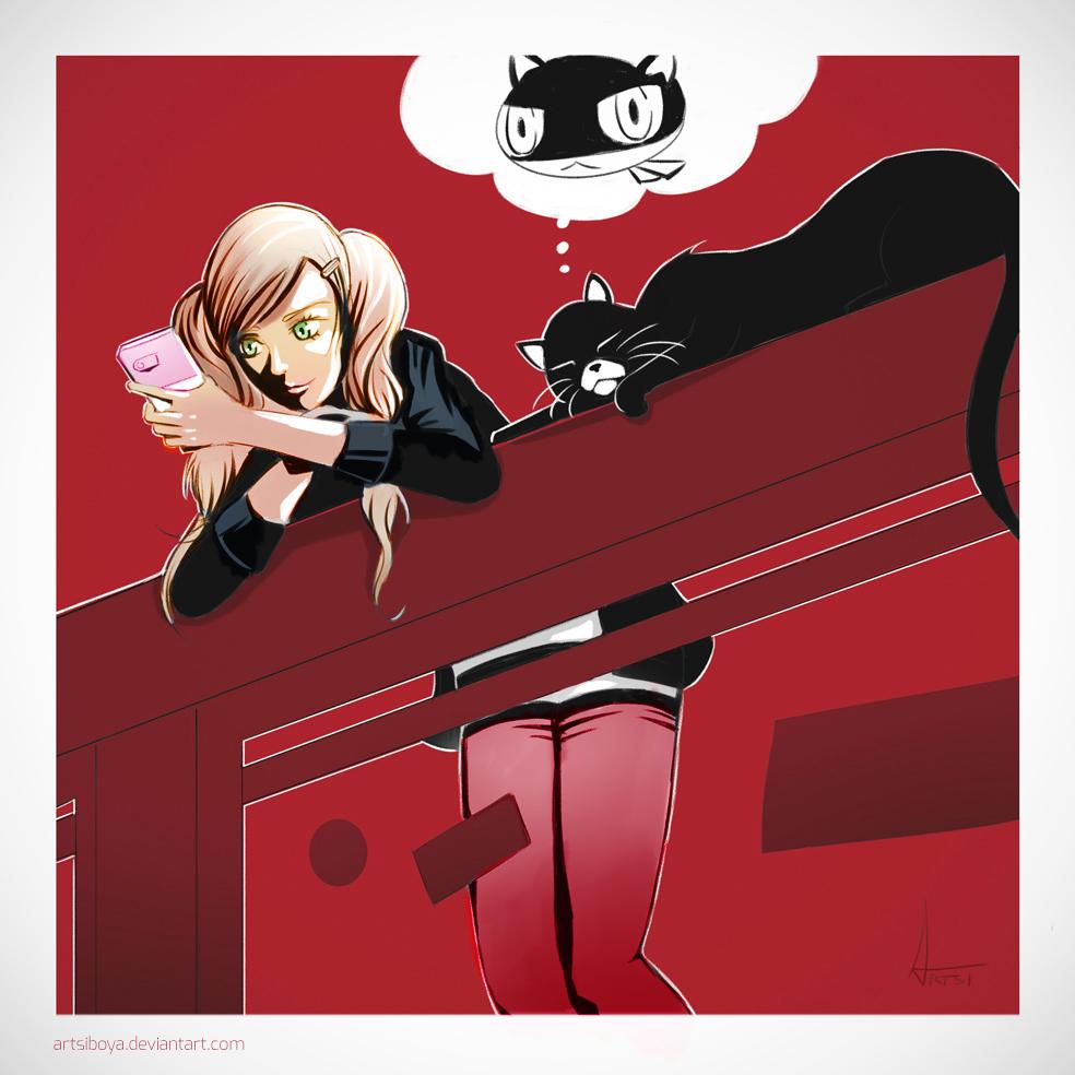 Persona 5 - Takamaki and Morgana by artsip