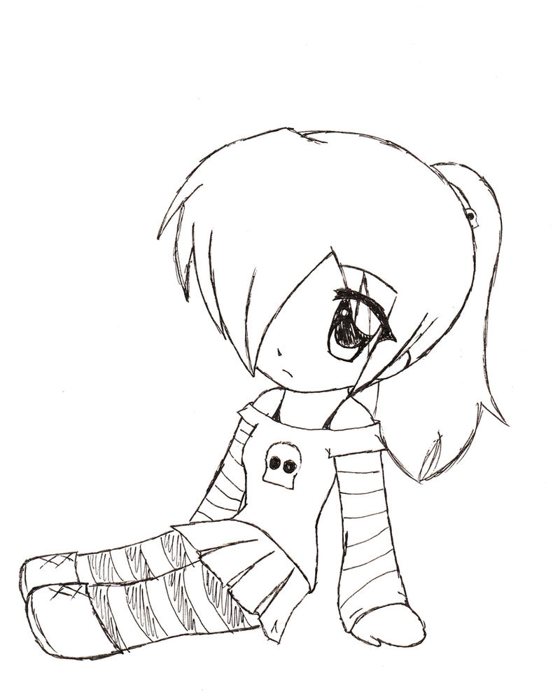 Cute Chibi Girl Easy Drawings Sketch Coloring Page