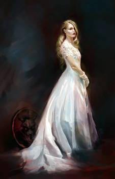 Alma in her wedding dress