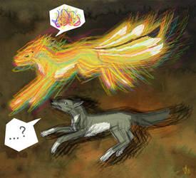 wolf and kitsune by kaleadora