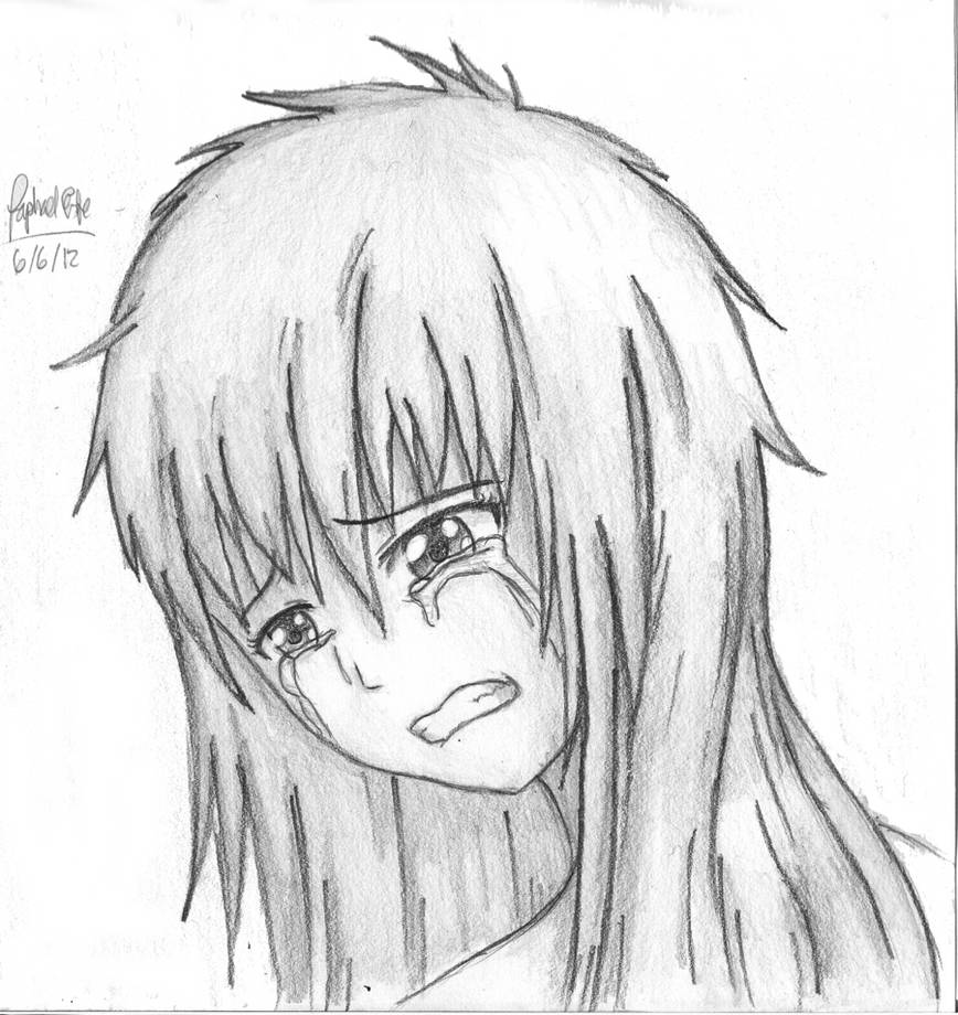 Sad anime girl crying drawing 4 by 21wildwolf
