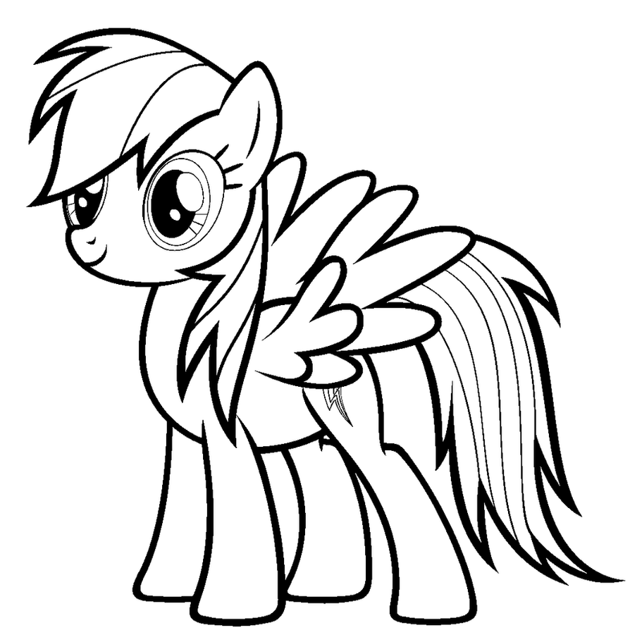 'Paint-Friendly' Rainbow Dash LineArt by ikillyou121 on ...