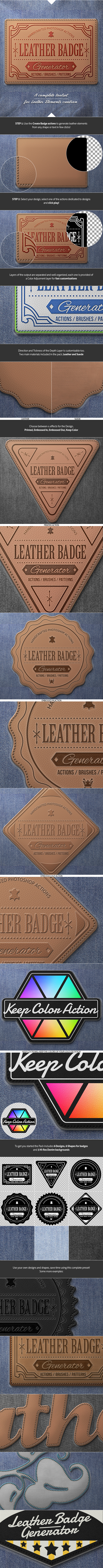 Leather Badge Generator - Photoshop Actions by NuwanP