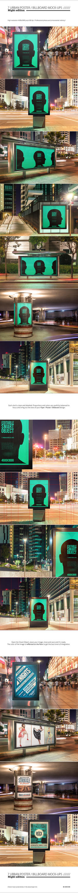 Urban Poster / Billboard Mock-ups - Night Edition by NuwanP