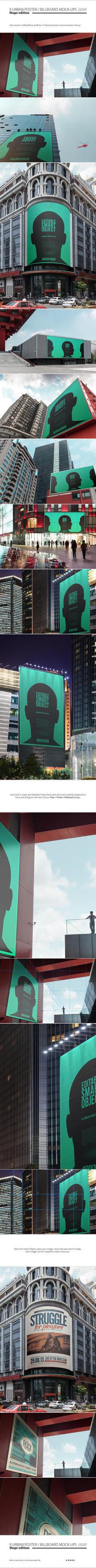 9 Urban Poster / Billboard Mock-Ups - Huge Edition by NuwanP