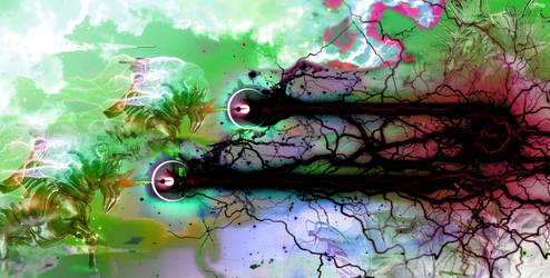 Unicorn MECHA firing corrupted beams of lightning