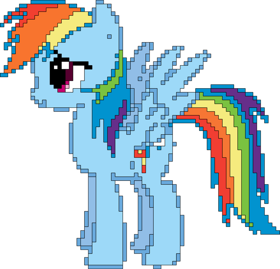 Pix-Art Rainbow Dash Vector by uxyd