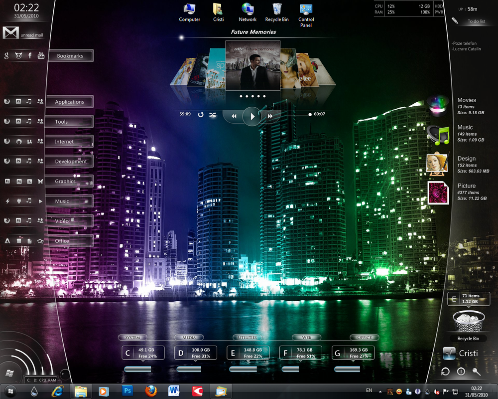 Windows 7 rainmeter by crysis21 on deviantart for Deviantart rainmeter
