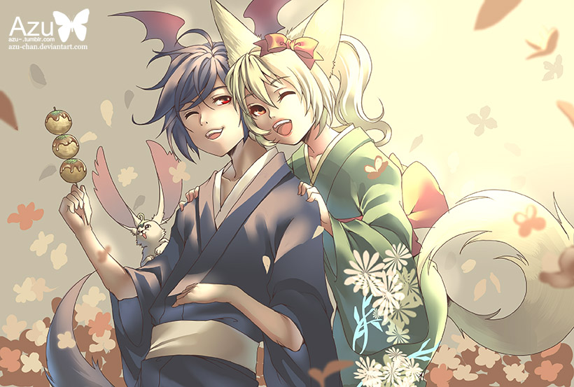 Elins in kimonos by Azu-Chan