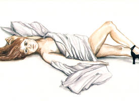 Repose - Life Drawing by LeeAnneKortus