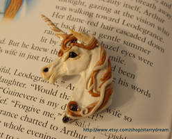 Ivory and Gold Unicorn Brooch