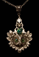 Flight of the Owl Pendant Green and Silver by LeeAnneKortus