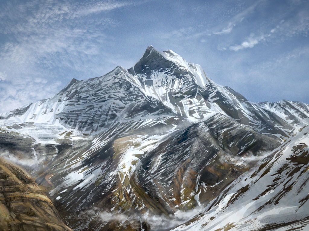 snowy mountain landscape painting. snowy mountains by lukkar mountain landscape painting