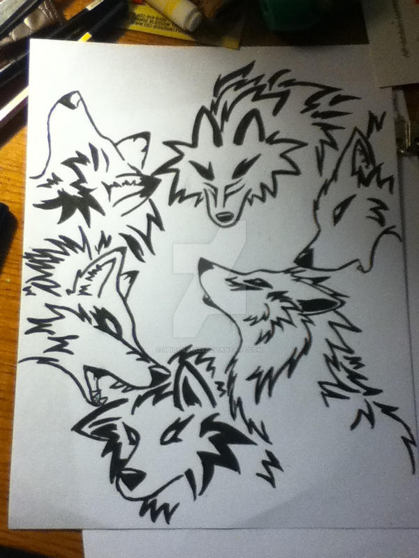 Free hand tribal wolf tattoos by UbiOokami23