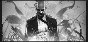 HITMAN-Black and white by ZiDes1gn