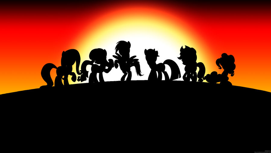 Mane Six Sunset Wallpaper by MrAlienBrony
