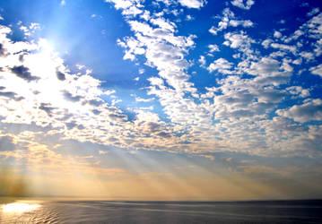 Sea sky sun clouds. by FrenForsaken