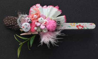 flowery pink bookmark by RibbonsandClay