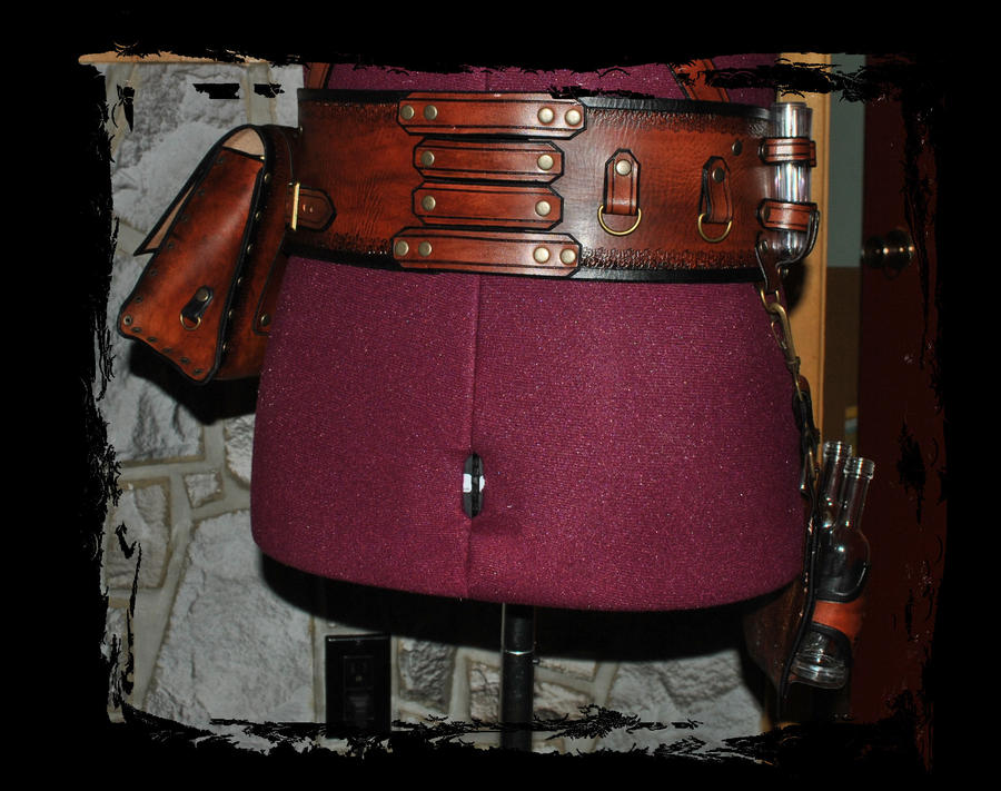 Steampunk leather belt utility back view by lagueuse on - Steampunk bett ...