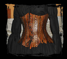 leather corset bark style by Lagueuse