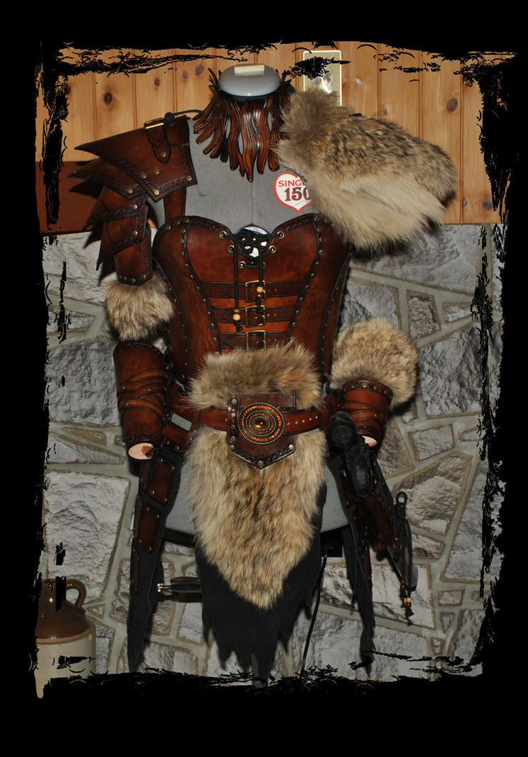 female leather armor barbarian front view by Lagueuse