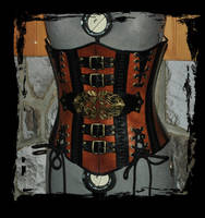 steampunk leather corset by Lagueuse