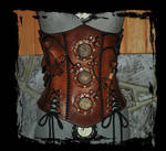 steampunk leather corset front view