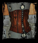 steampunk leather corset back view