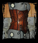 steampunk leather corset side view