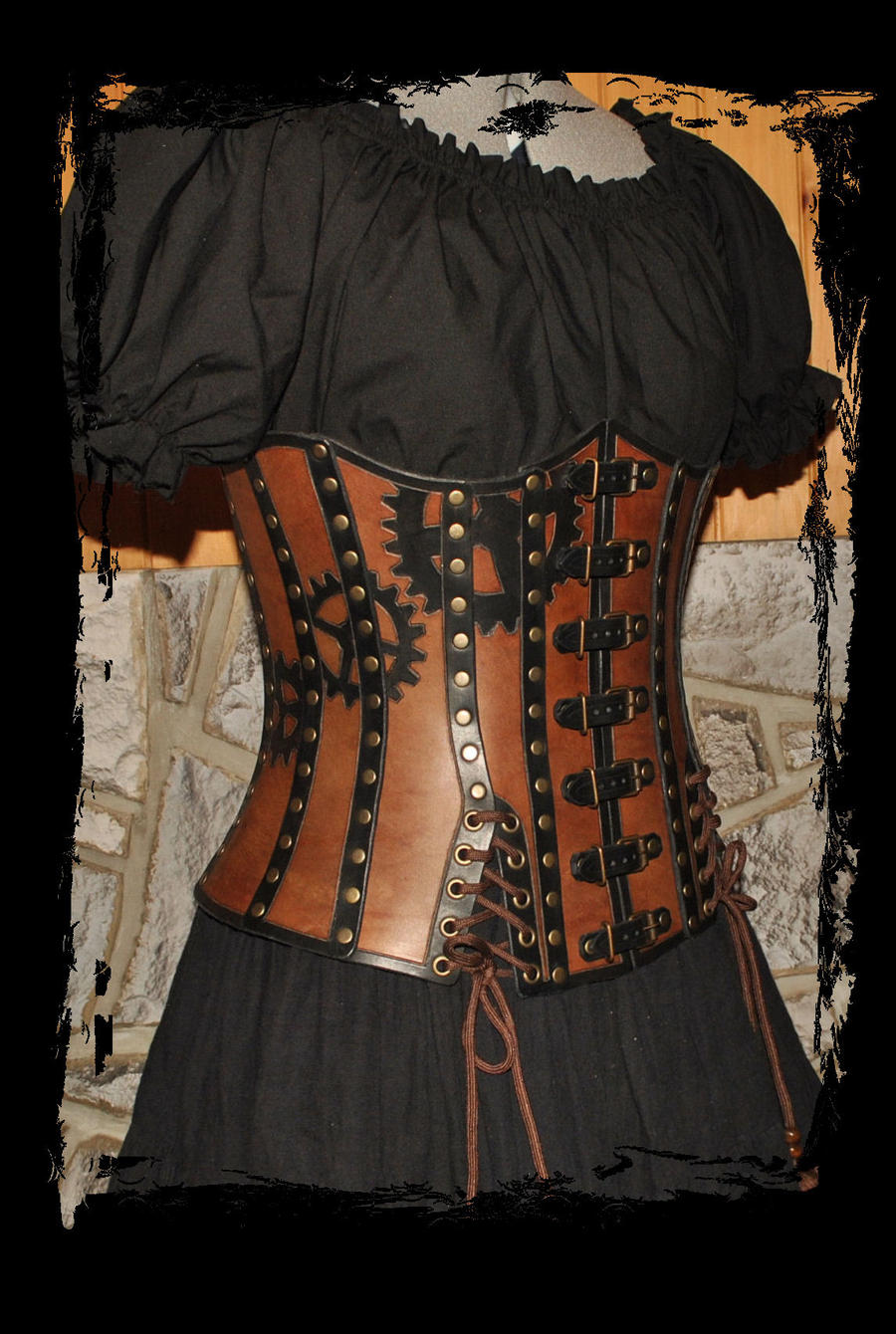 leather corset steampunk by Lagueuse