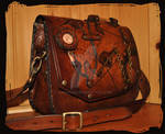 leather shoulder bag  pirate steampunk