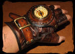 steampunk leather glove with compass