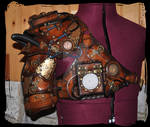 steampunk leather pauldron and harness