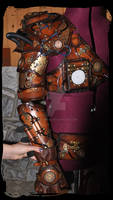steampunk leather pauldron and harm armor