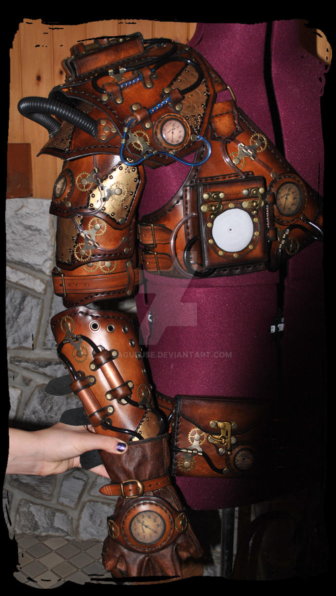steampunk leather pauldron and harm armor by Lagueuse