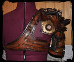 steampunk leather pauldron and harness back view