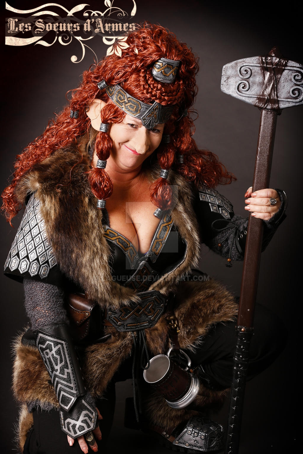 dwarf leather armor female woman by lagueuse on deviantart