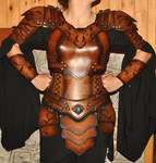 women leather armor armure cuir femme