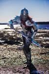 women leather armor (metal effect)
