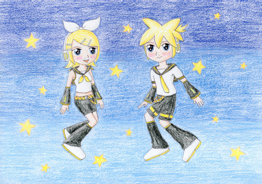 Chibi Rin and Len by NormaLeeInsane