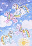 Rainbow baby ponies by NormaLeeInsane