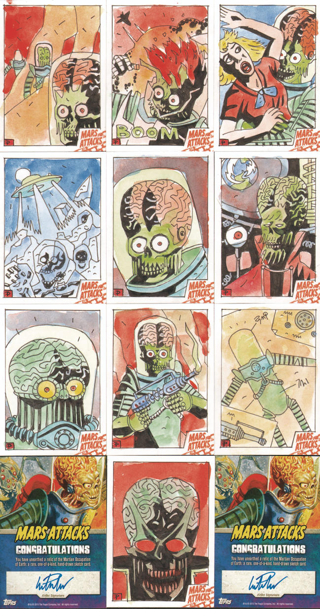 MARS ATTACKS SKETCH CARDS 11-20 by future-parker