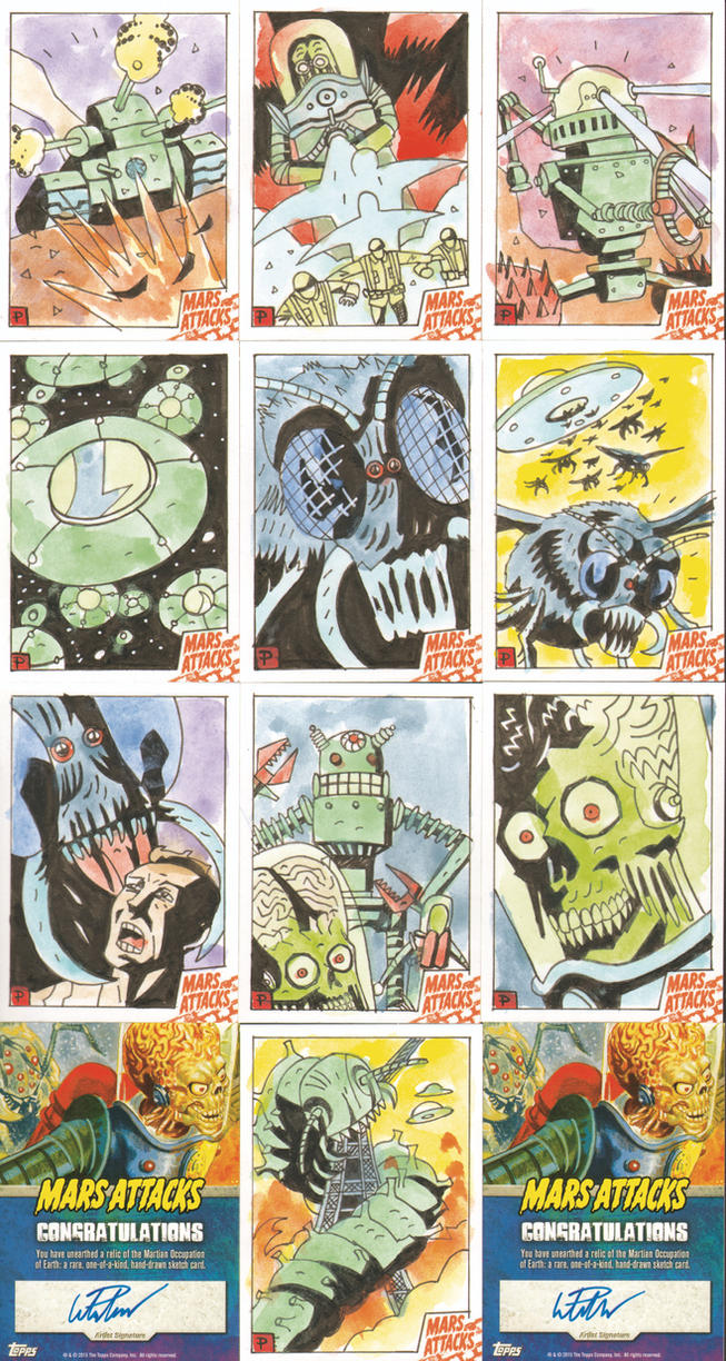 MARS ATTACKS SKETCH CARDS 21-30 by future-parker